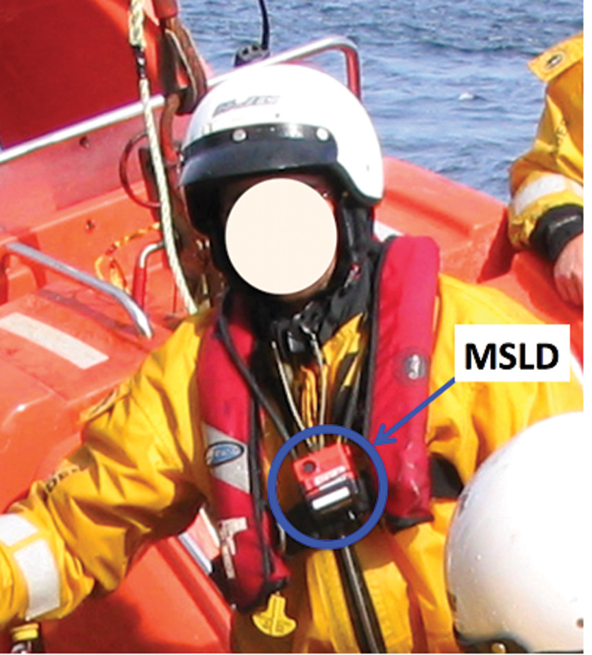 Figure 2- MSLD beacon worn around the neck using transmitter antenna.