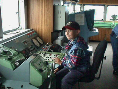 "Blair Banton visits his dad on the CCGS Sir Humphrey Gilbert when he is five years old. Blair says he remembers that he was very excited to be ""controlling the ship."""