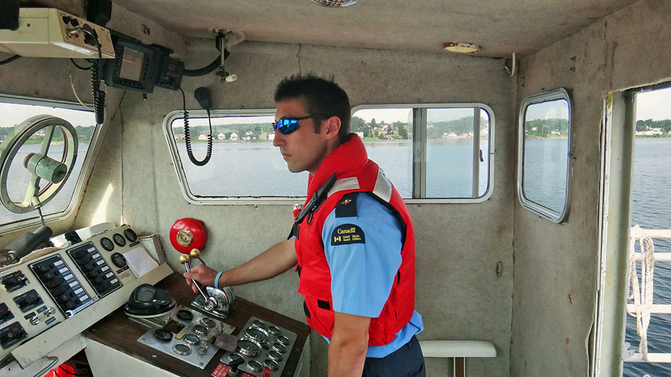 Blair actually controlling a vessel during his second year at the Canadian Coast Guard College.