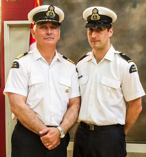 Blair Banton and father Captain Windross Banton at Blair's graduation from the Canadian Coast Guard College in June 2015.