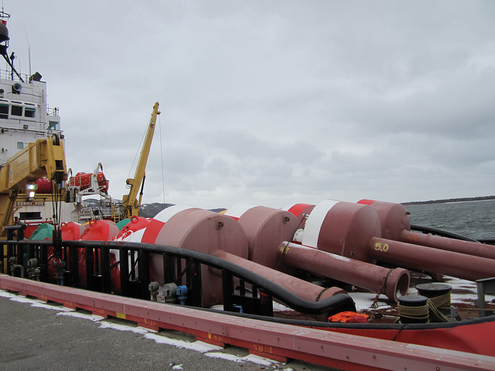 Loading buoys in Stephenville — bound for Charlottetown.