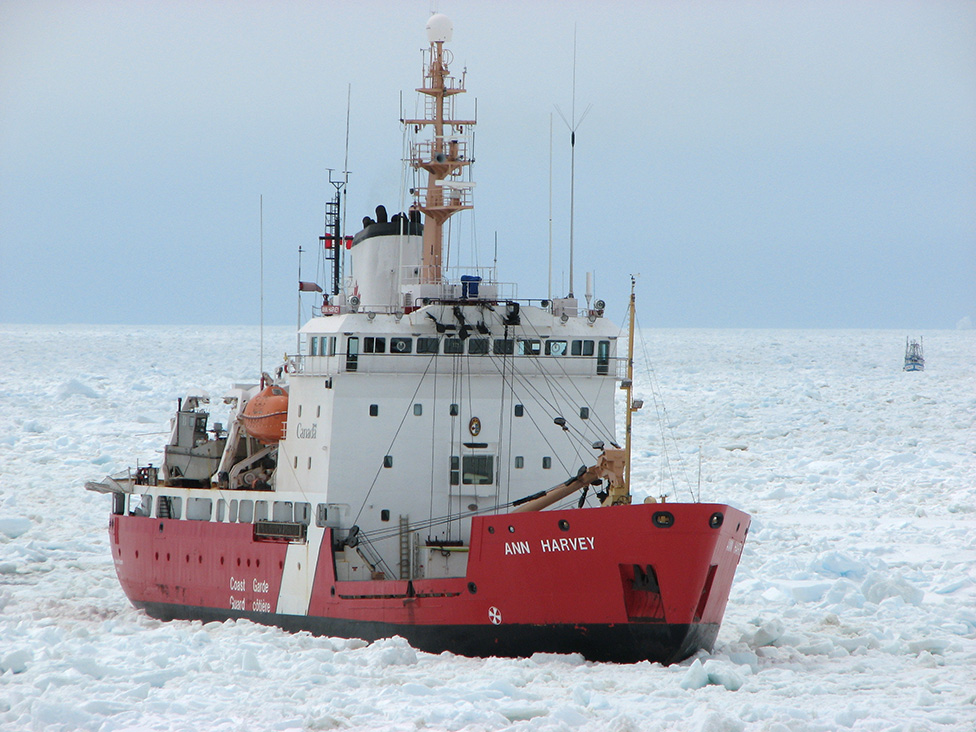 CCGS Ann Harvey leads a safe passage through sea ice. This vessel's dedicated service to the life and safety of mariners is a fitting tribute to her eponym.