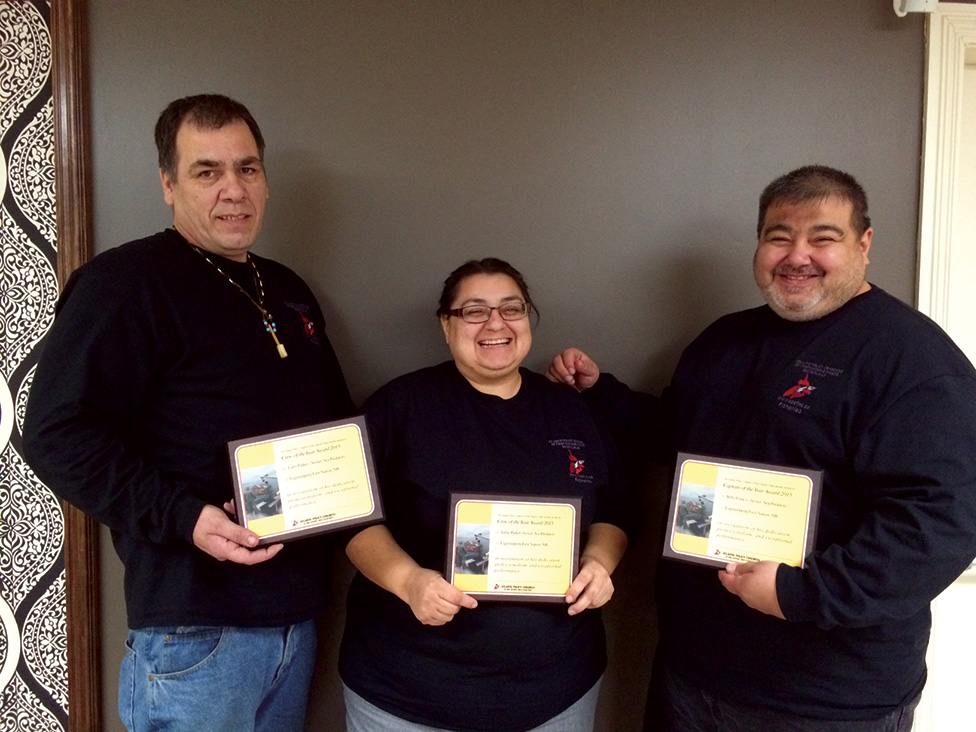 The captain and crew of the Sea Predator were honoured with awards from the Atlantic Policy Congress of First Nations Chiefs Secretariat. From left: crew members Larry Parker, Jamie Parker and Captain Billy Francis.