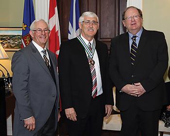 Newfoundland and Labrador Lieutenant Governor Frank Fagan, Gilbert Linstead and former Premier Tom Marshall at Order of Newfoundland and Labrador award ceremonies in 2014.