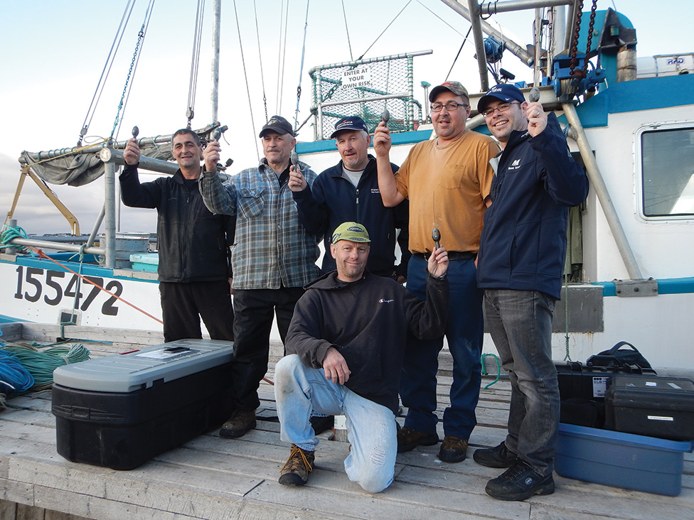 A team composed of CFER and IPHC scientists, FFAW technicians and halibut harvesters were able to recover a large number of satellite tags onboard the FV Jenny Dion.