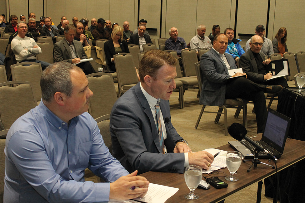 Keith Sullivan and Robert Keenan of the FFAW address the panel.