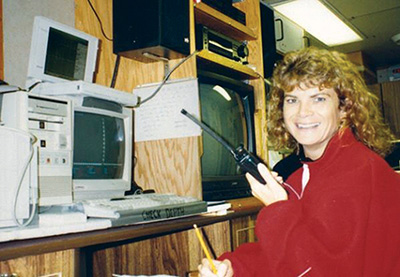 Darlene Fiander's data collection setup, circa 1995.