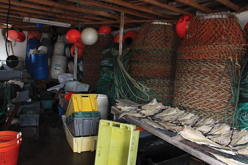 Inside Austin King's fishing stage.