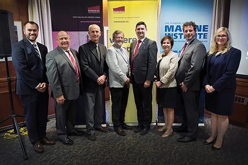 From left are Carey Bonnell, President Kachanoski, Dr. Mark Abrahams, Dr. Paul Snelgrove, Christopher Mitchelmore, Iris Petten, Nick Whalen and Marlies Rise.
